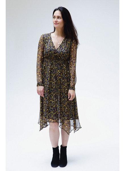See U Soon SUS Floral Surplice Dress Blk