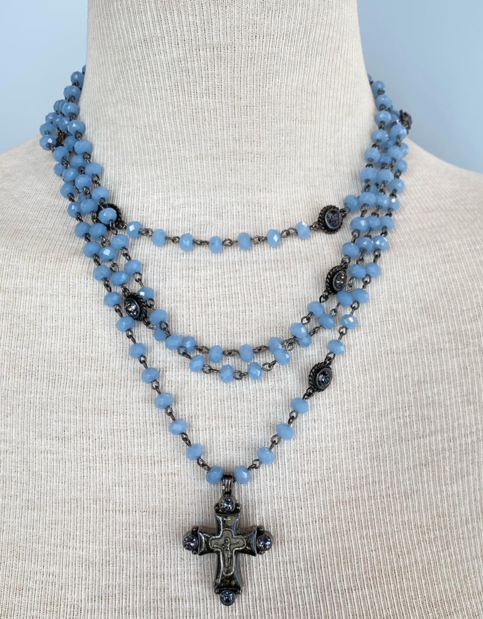 Virgins Saints & Angels MAGDALENA Light Blue Opal with Cross Pendant
