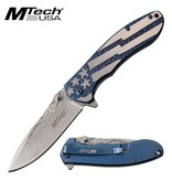 MTECH USA Spring Assisted Knife - Blue w/Stars & Stripes