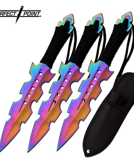 Perfect Point Throwing Knife Set - Rainbow Coated