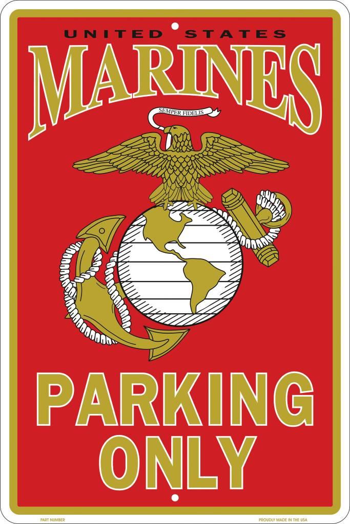 U.S. Marines 8 X 12 Metal Parking Sign
