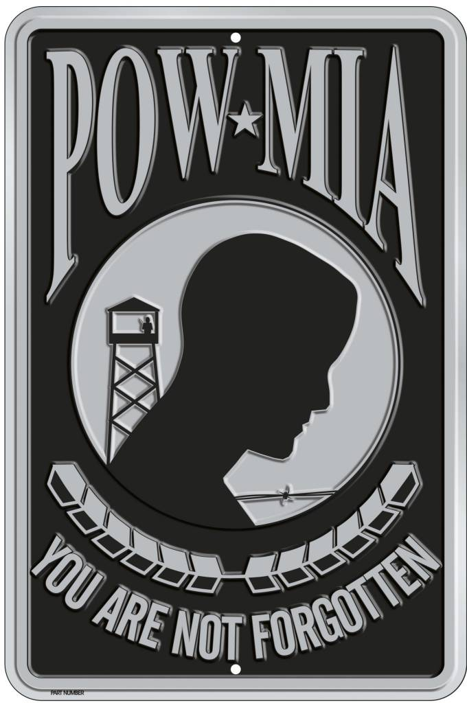 Ramsons Imports POW - MIA 8 X 12 Metal Parking Sign