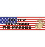 Mitchell Proffitt The Few, The Proud, The Marines with Emblem on USA Flag Decal