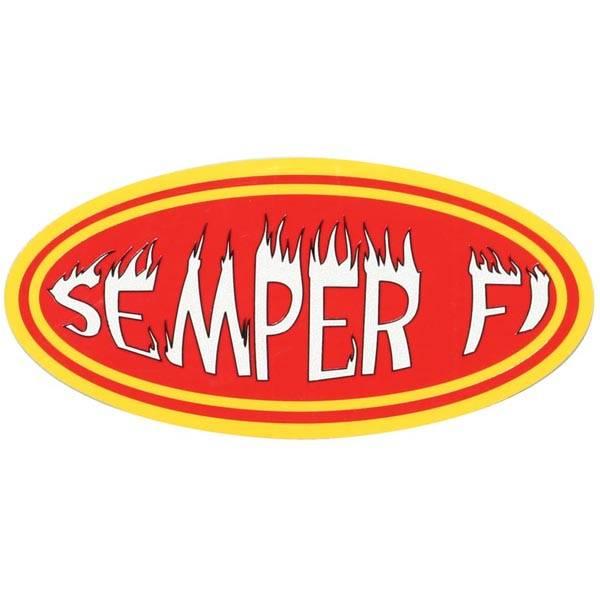 """Mitchell Proffitt Semper Fi 6.5"""" x 3"""" Oval Reflective Decal"""