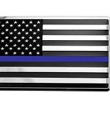 Mitchell Proffitt Police USA Flag with Blue Line Metal Auto Chrome