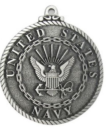 """U.S. Navy Holiday Pewter Ornament 2 1/4"""""""