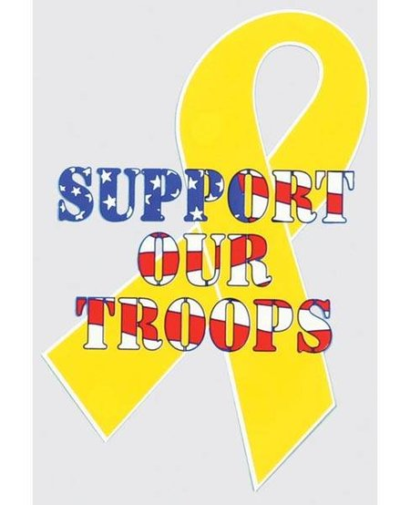 Yellow Ribbon Support Our Troops Window Decal