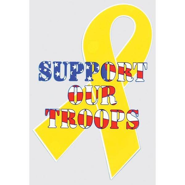 Mitchell Proffitt Yellow Ribbon Support Our Troops Window Decal