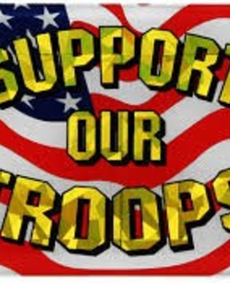 Support Our Troops USA Flag Reflective Domed Decal
