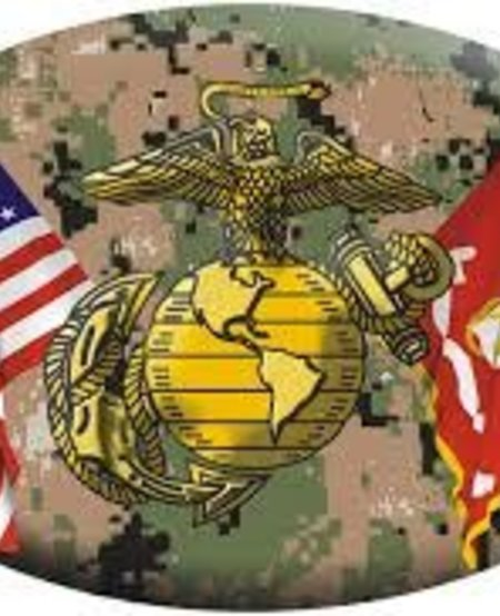 American and Marines Crossed Flags with EGA Emblem on Digital Camo Oval Magnet