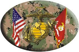 Mitchell Proffitt American and Marines Crossed Flags with EGA Emblem on Digital Camo Oval Magnet