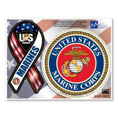 Marines Magnet - Ribbon and Crest