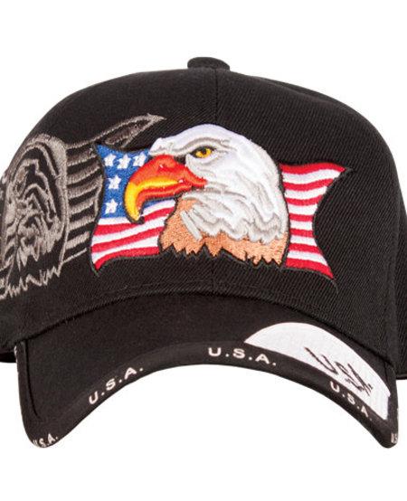 Patriotic Eagle/Black Ball Cap