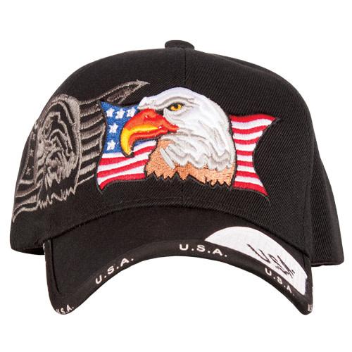 US Honor Patriotic Eagle/Black Ball Cap