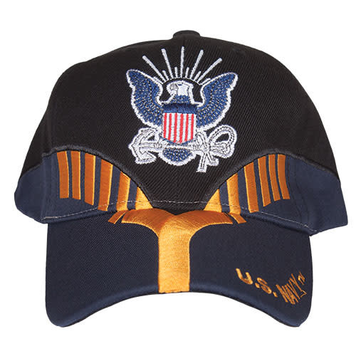 K & S Unique US Navy Black/Navy Embroidered Ball Cap