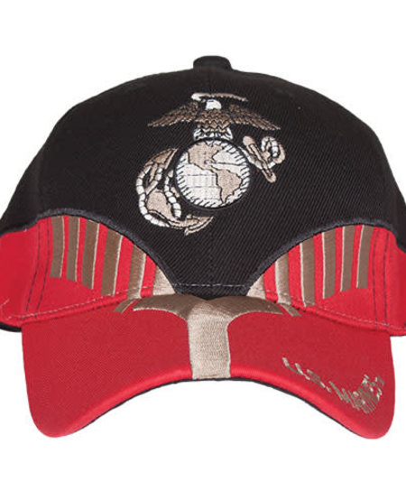 US Marines Black/Red Embroidered Ball Cap