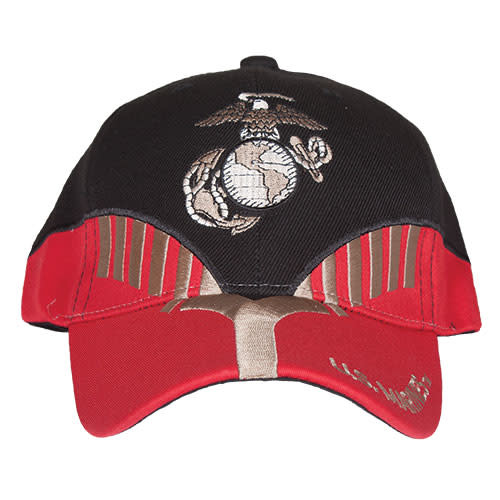 K & S Unique US Marines Black/Red Embroidered Ball Cap