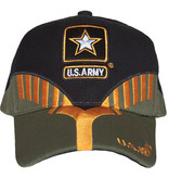 K & S Unique US Army Black/OD Embroidered Ball Cap