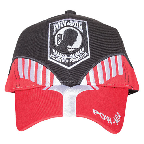 K & S Unique POW/MIA Black/Red Embroidered Ball Cap