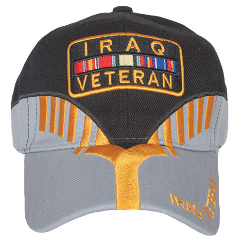 K & S Unique Iraq Veteran Black/Grey Embroidered Ball Cap