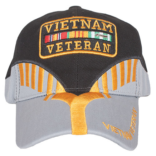 K & S Unique Vietnam Veteran Black/Grey Embroidered Ball Cap