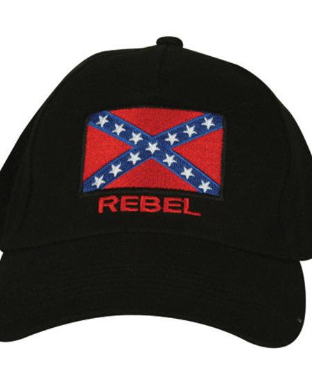 Rebel Black Embroidered Ball Cap