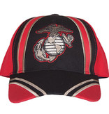 K & S Unique Marines-Recon Red/Black Embroidered Ball Cap