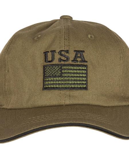 USA Flag - Green Embroidered Ball Cap