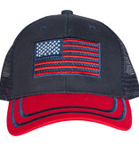 US Honor American Flag Trucker Cap Red/Navy Embroidered Ball Cap