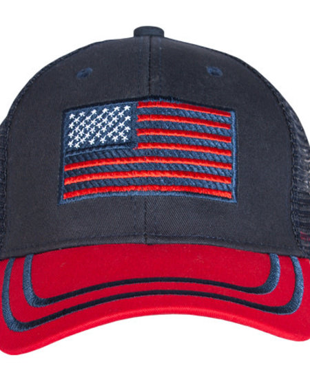 American Flag Trucker Cap Red/Navy Embroidered Ball Cap