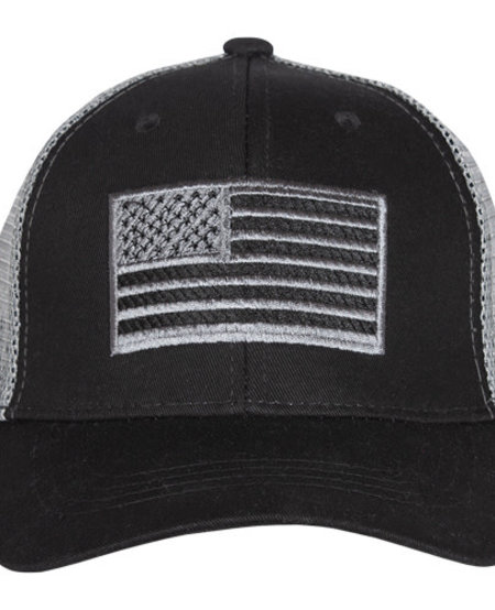 American Flag Trucker Cap Black Embroidered Ball Cap