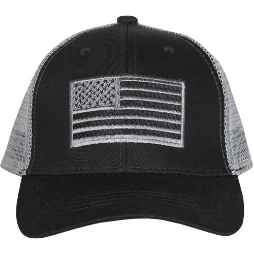 American Flag Trucker Cap Black Embroidered Ball Cap