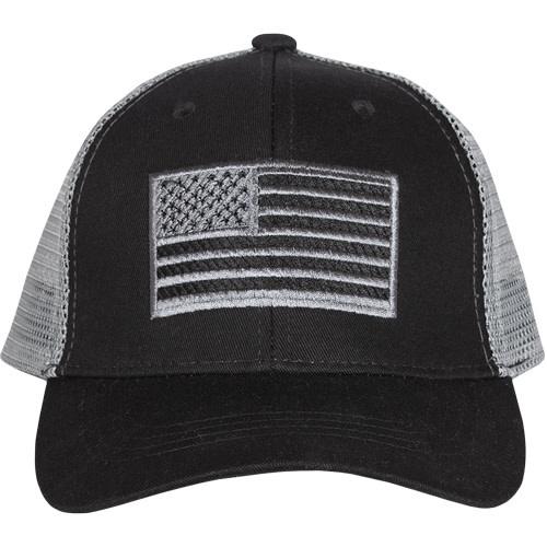 US Honor American Flag Trucker Cap Black Embroidered Ball Cap