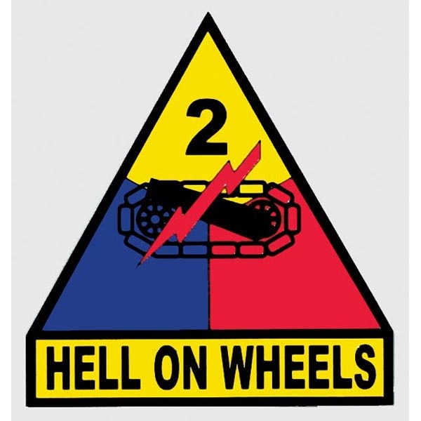 Mitchell Proffitt 2nd Armored Division 'Hell on Wheels' Window Decal 3.5 x 3.75