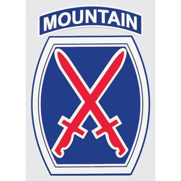 """Mitchell Proffitt 10th Mountain Division 3.25"""" x 4.25"""" Window Decal"""