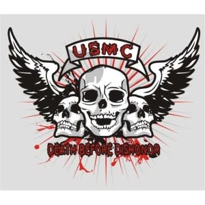 Mitchell Proffitt USMC Death Before Dishoner with Skulls and Wings Window Decal