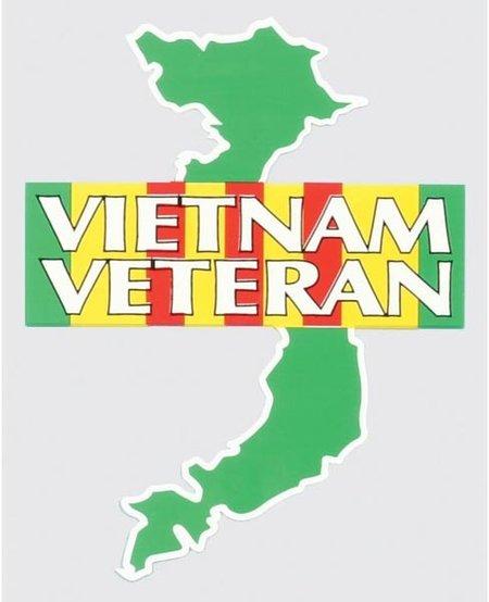 Vietnam Veteran on Campaign Ribbon over Vietnam Map Window Decal