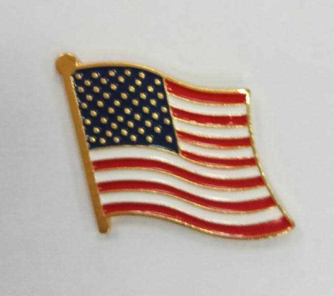 Ramsons Imports American Flag Lapel Pin Gold Border