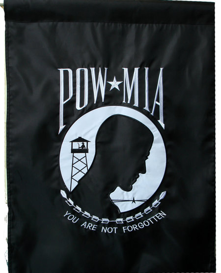 POW MIA Embroidered 2 Sided Banner 28 x 40