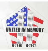 """Mitchell Proffitt United in Memory 9/11 Window Decal 5"""" x 4.75"""""""
