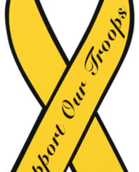 """Support Our Troops Yellow Ribbon 8"""" Magnet"""