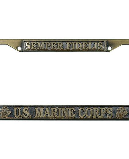 Semper Fielis U.S. Marine Corps Brass License Plate Frame