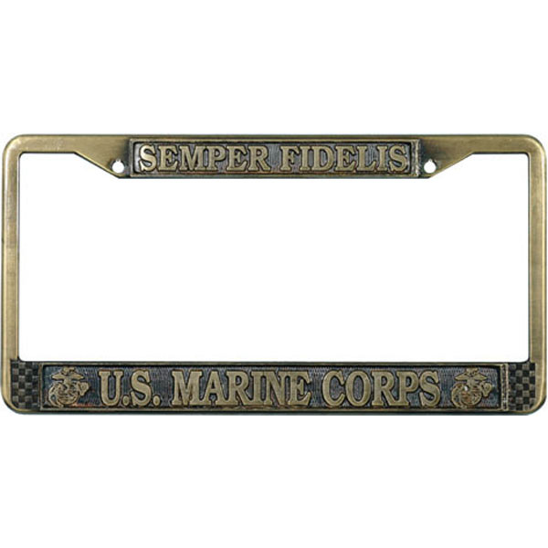 Mitchell Proffitt Semper Fielis U.S. Marine Corps Brass License Plate Frame