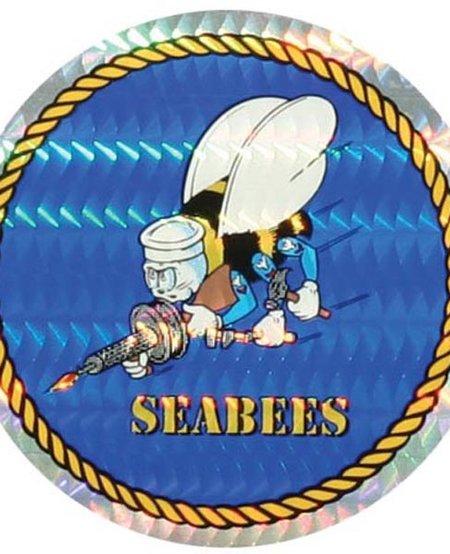 """Seabees 3"""" Round Sticker"""