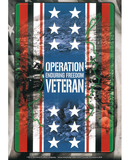 Operation Enduring Freedom Veteran Ribbon, Stars and Flag Decal