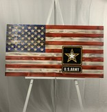 Flags Forever US Army on 50 Star USA Wood Flag