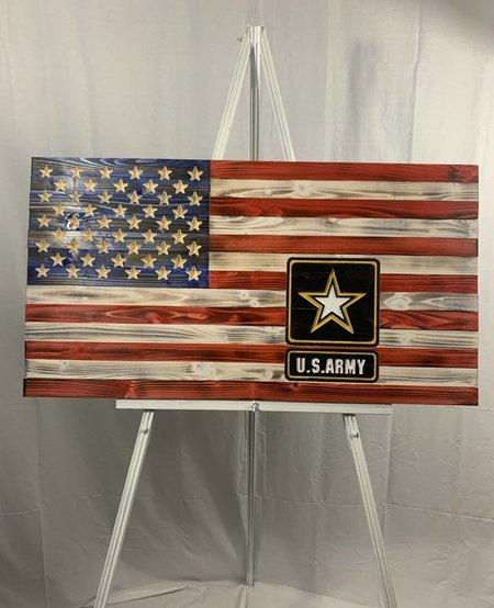 US Army on 50 Star USA Wood Flag