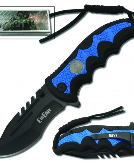 Navy Spring Assisted Knife w/belt clip and paracord