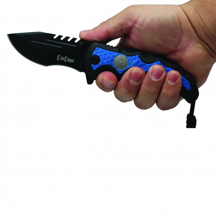 Elite Edge Navy Spring Assisted Knife w/belt clip and paracord