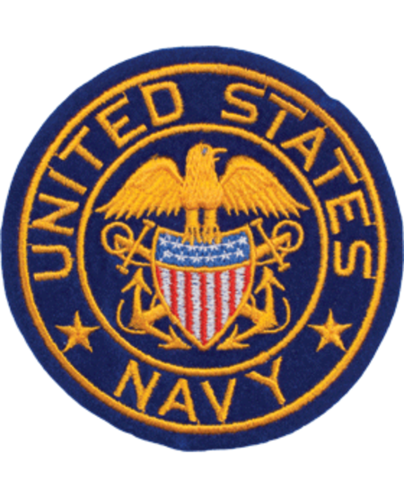 US Navy with Eagle and Shield Round Patch 4""